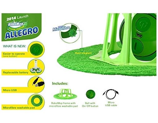 Mop Robotic RoboMop Allegro Energy+ (cu 2 seturi pad-uri rezerva)